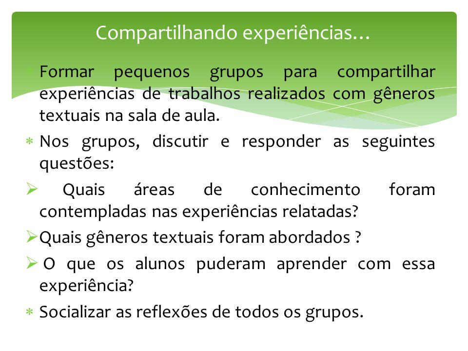 Formar pequenos grupos para compartilhar experiências de trabalhos realizados com gêneros textuais na sala de aula. Nos grupos, discutir e responder a