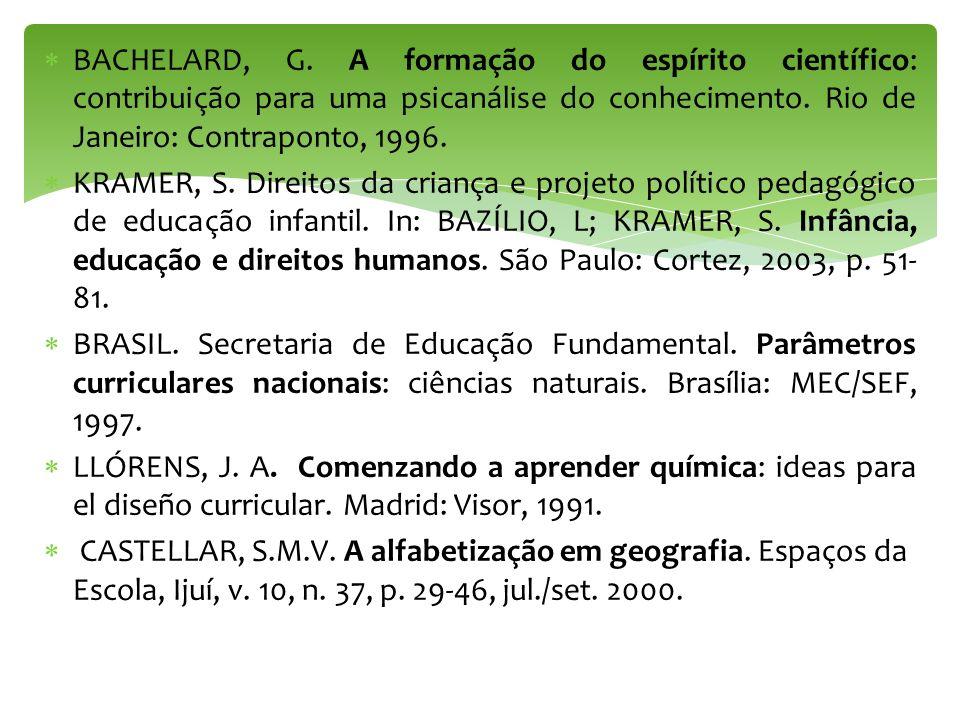 BACHELARD, G. A formação do espírito científico: contribuição para uma psicanálise do conhecimento. Rio de Janeiro: Contraponto, 1996. KRAMER, S. Dire