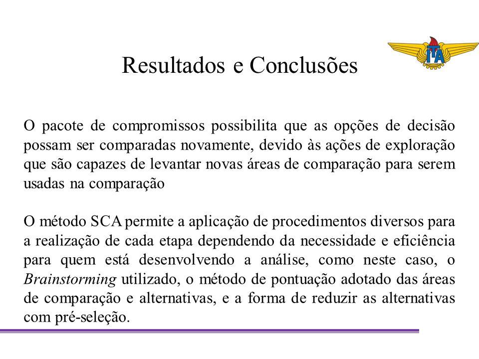 Resultados e Conclusões O pacote de compromissos possibilita que as opções de decisão possam ser comparadas novamente, devido às ações de exploração q