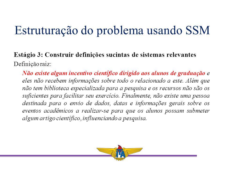 Estruturação do problema usando SSM Estágio 3: Construir definições sucintas de sistemas relevantes Definição raiz: Não existe algum incentivo científ