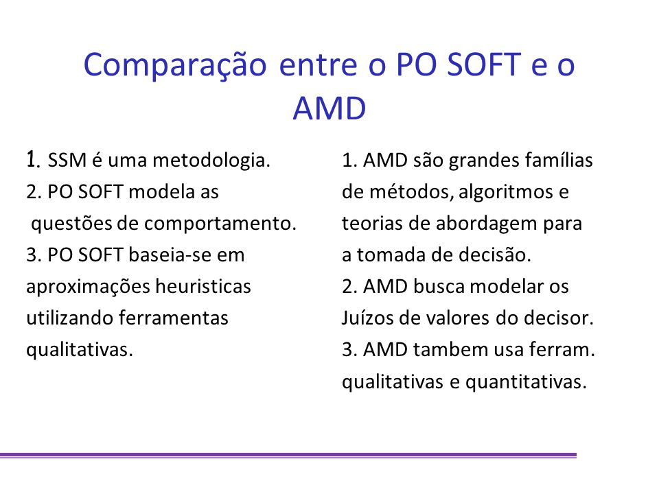 Comparação entre o PO SOFT e o AMD 1. SSM é uma metodologia. 2. PO SOFT modela as questões de comportamento. 3. PO SOFT baseia-se em aproximações heur