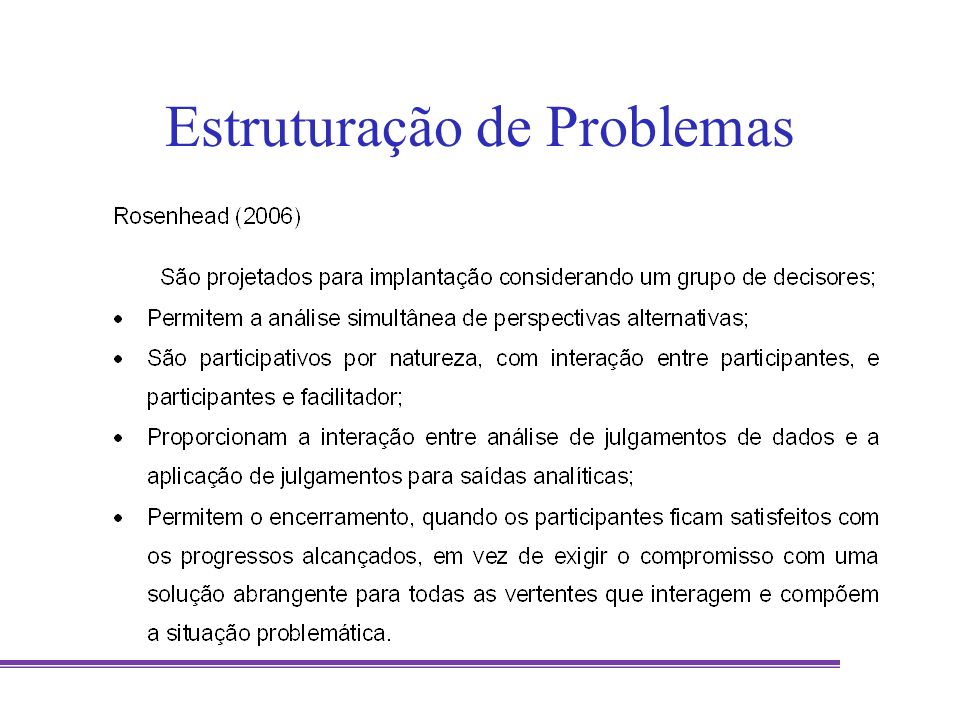 Métodos de Estruturação de Problemas Rosenhead,J, Mingers J (ed) (2001) Rational Analysis for a Problematic World Revisited: Problem Structuring Methods for Complexity, Uncertainty and Conflict (2nd edition), Wiley: Chichester Mingers J, Rosenhead J (2004) Problem structuring methods in action.