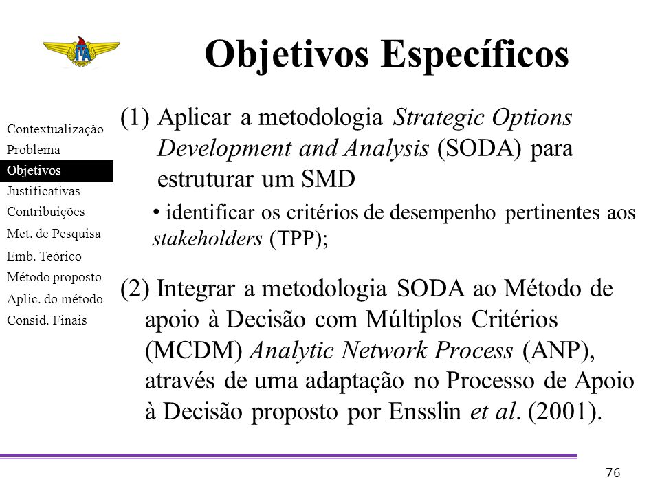 Objetivos Específicos (1)Aplicar a metodologia Strategic Options Development and Analysis (SODA) para estruturar um SMD identificar os critérios de de