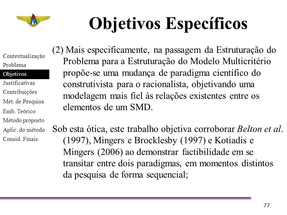 Objetivos Específicos (2) Mais especificamente, na passagem da Estruturação do Problema para a Estruturação do Modelo Multicritério propõe-se uma muda