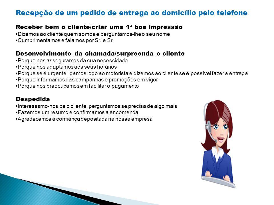 Recepção de um pedido de entrega ao domicílio pelo telefone Receber bem o cliente/criar uma 1ª boa impressão Dizemos ao cliente quem somos e perguntam