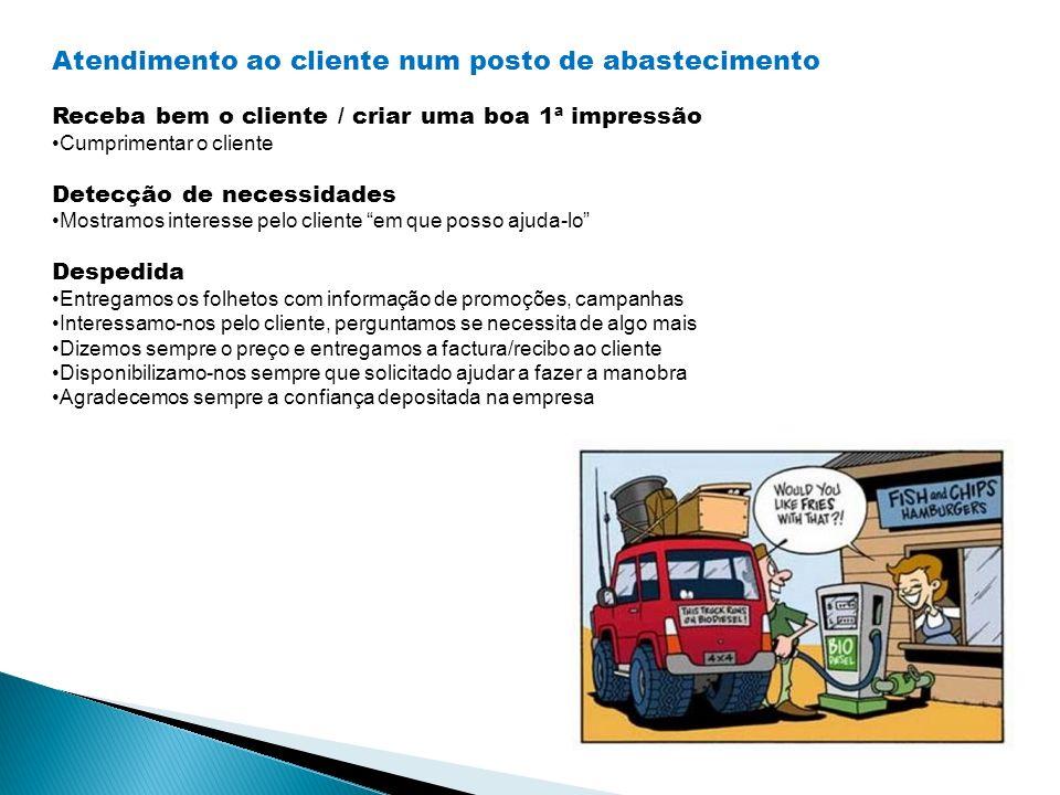 Atendimento ao cliente num posto de abastecimento Receba bem o cliente / criar uma boa 1ª impressão Cumprimentar o cliente Detecção de necessidades Mo