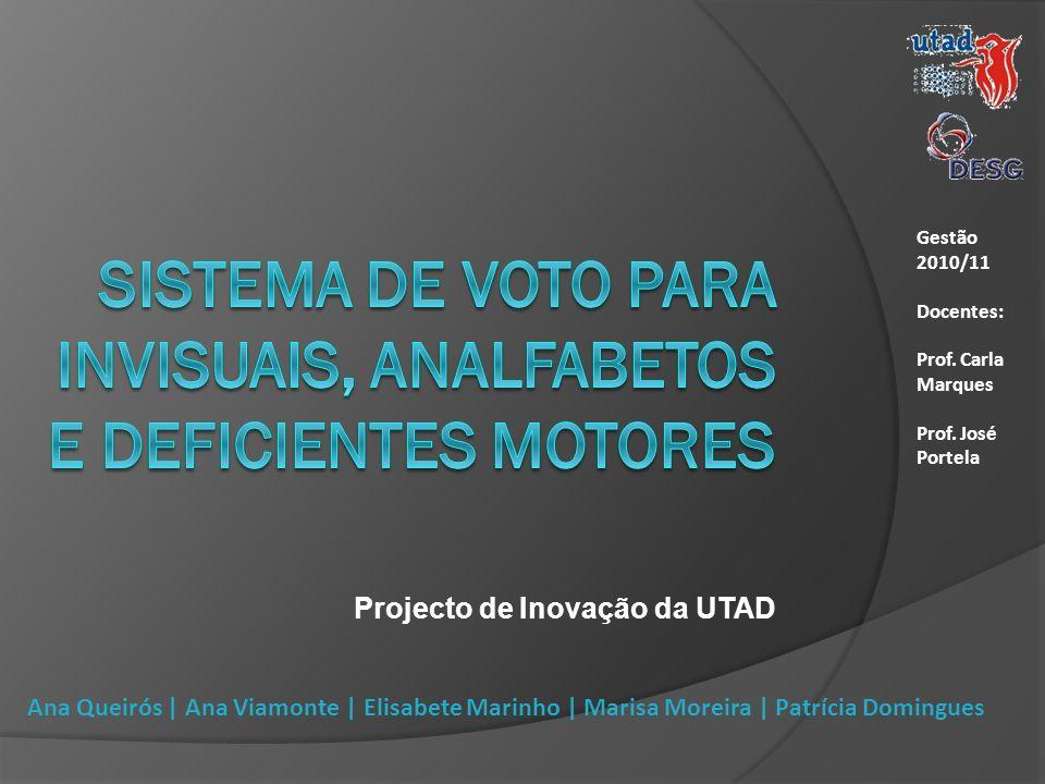 Projecto de Inovação da UTAD Gestão 2010/11 Docentes: Prof. Carla Marques Prof. José Portela Ana Queirós | Ana Viamonte | Elisabete Marinho | Marisa M