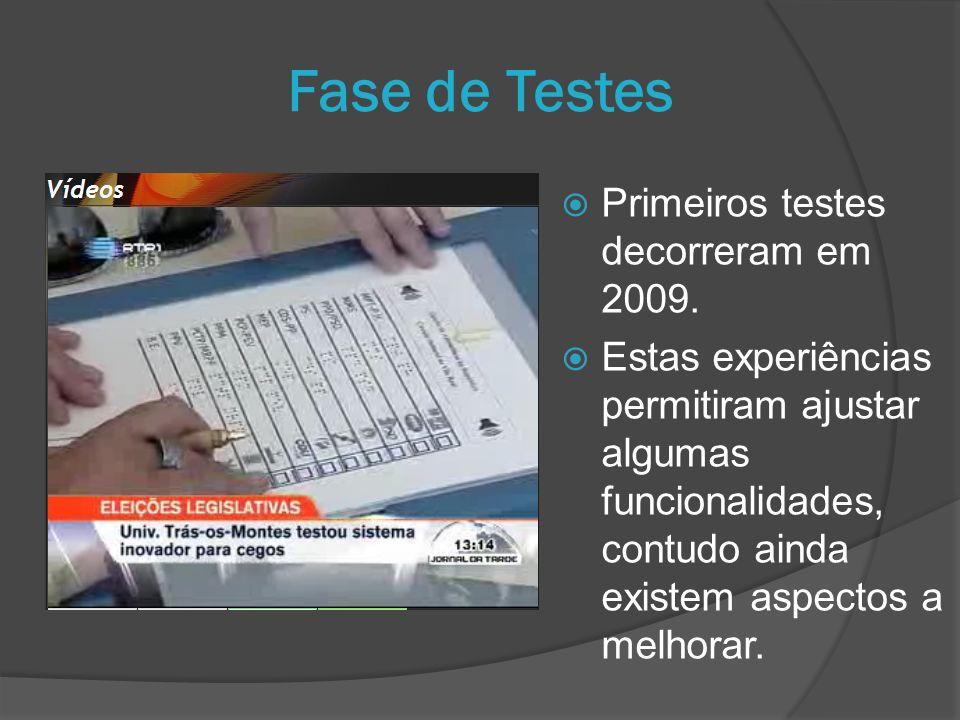 Primeiros testes decorreram em 2009. Estas experiências permitiram ajustar algumas funcionalidades, contudo ainda existem aspectos a melhorar. Fase de