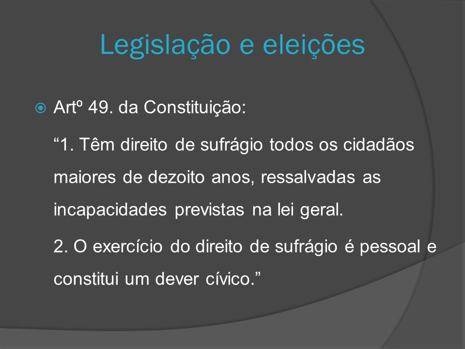 Legislação e eleições Artº 49. da Constituição: 1. Têm direito de sufrágio todos os cidadãos maiores de dezoito anos, ressalvadas as incapacidades pre