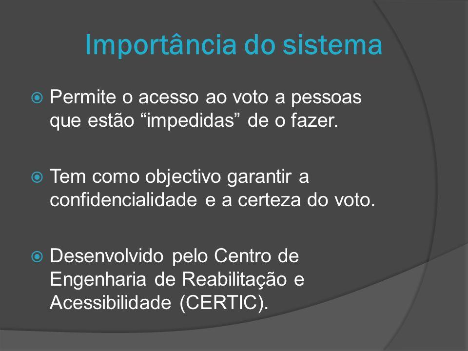 Importância do sistema Permite o acesso ao voto a pessoas que estão impedidas de o fazer. Tem como objectivo garantir a confidencialidade e a certeza