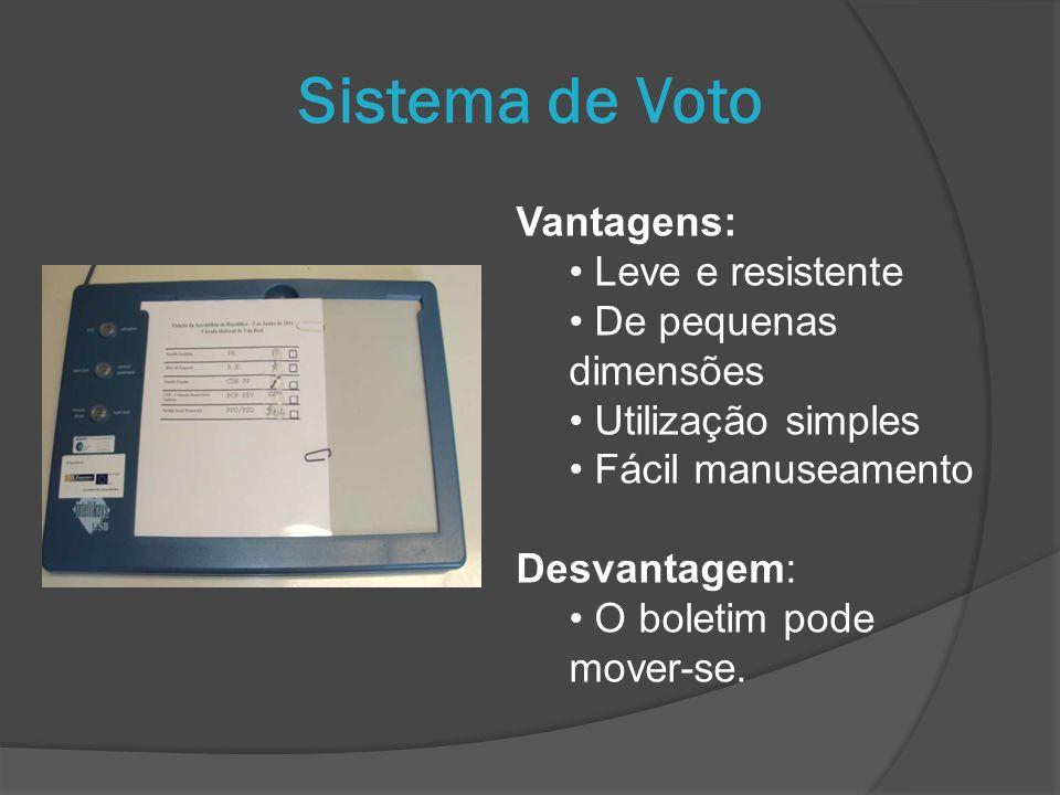 Vantagens: Leve e resistente De pequenas dimensões Utilização simples Fácil manuseamento Desvantagem: O boletim pode mover-se. Sistema de Voto
