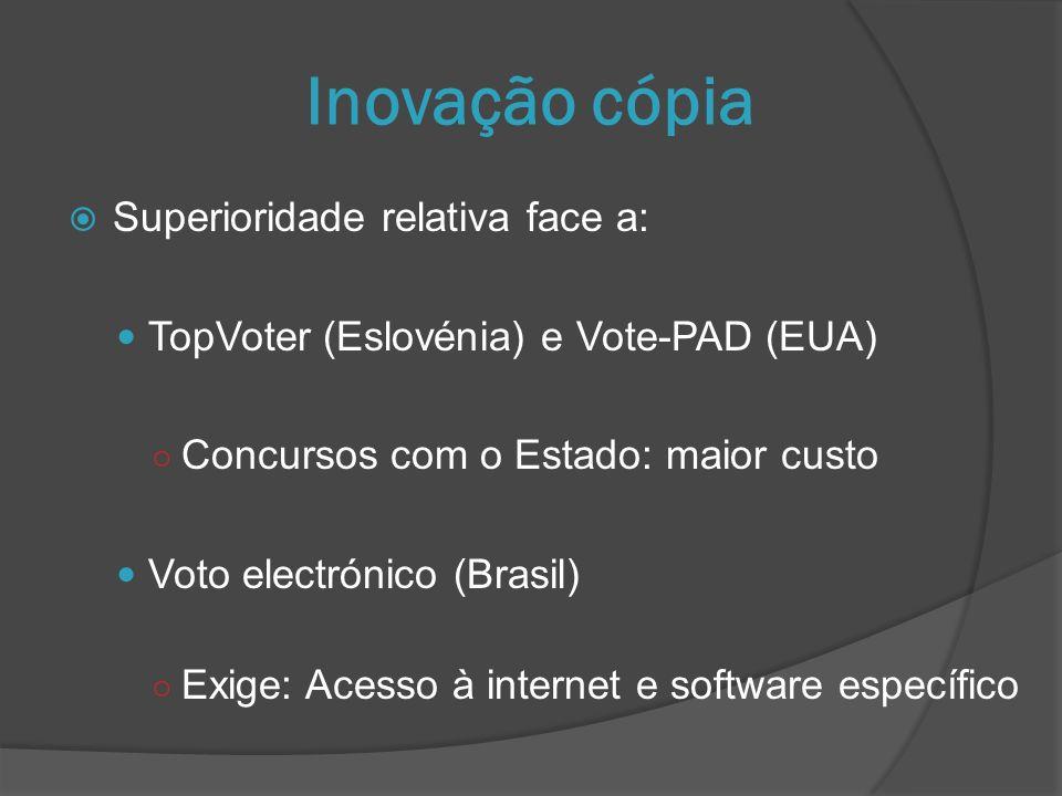 Inovação cópia Superioridade relativa face a: TopVoter (Eslovénia) e Vote-PAD (EUA) Concursos com o Estado: maior custo Voto electrónico (Brasil) Exige: Acesso à internet e software específico