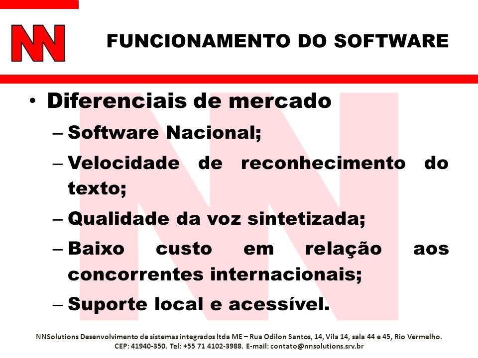 FUNCIONAMENTO DO SOFTWARE Diferenciais de mercado – Software Nacional; – Velocidade de reconhecimento do texto; – Qualidade da voz sintetizada; – Baixo custo em relação aos concorrentes internacionais; – Suporte local e acessível.