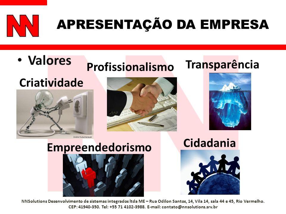 Valores NNSolutions Desenvolvimento de sistemas integrados ltda ME – Rua Odilon Santos, 14, Vila 14, sala 44 e 45, Rio Vermelho. CEP: 41940-350. Tel: