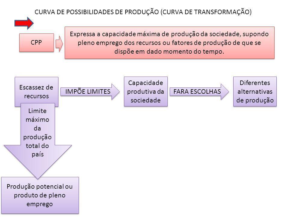 CURVA DE POSSIBILIDADES DE PRODUÇÃO (CURVA DE TRANSFORMAÇÃO) CPP Expressa a capacidade máxima de produção da sociedade, supondo pleno emprego dos recursos ou fatores de produção de que se dispõe em dado momento do tempo.