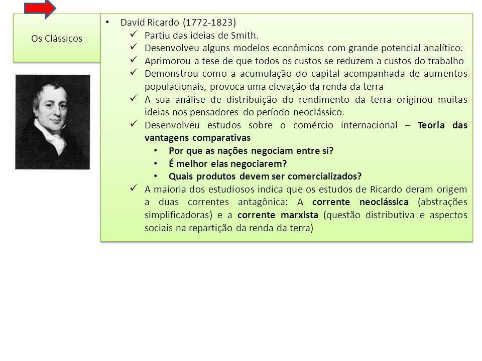 Os Clássicos David Ricardo (1772-1823) Partiu das ideias de Smith.