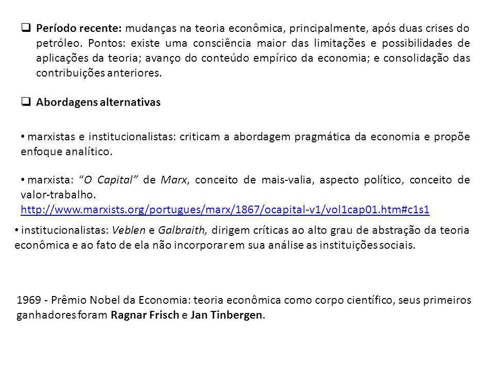 Período recente: mudanças na teoria econômica, principalmente, após duas crises do petróleo.