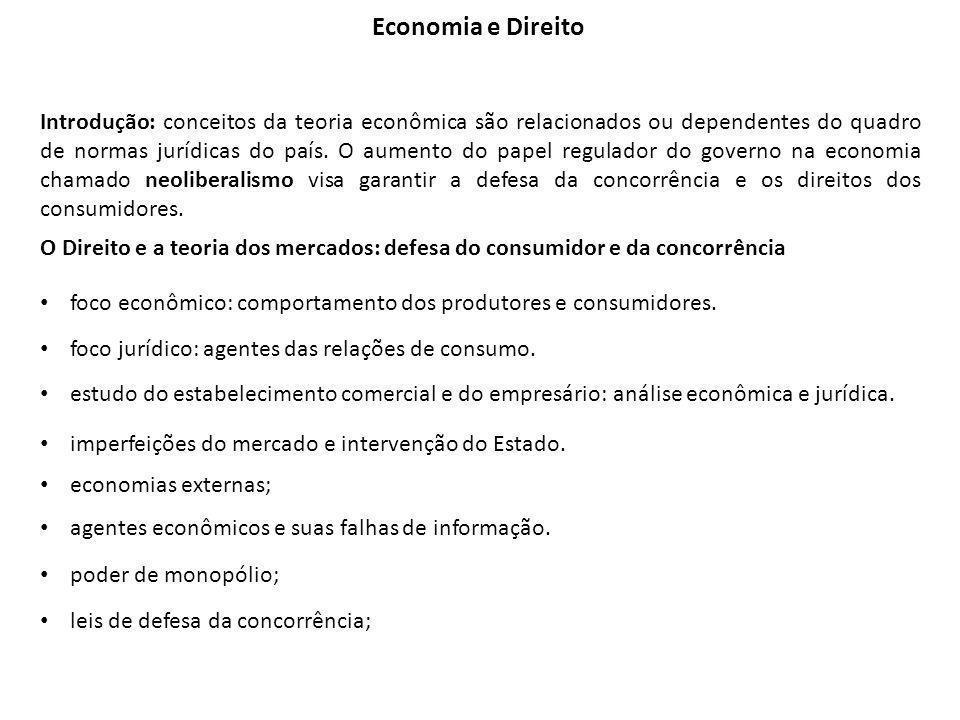 Introdução: conceitos da teoria econômica são relacionados ou dependentes do quadro de normas jurídicas do país.