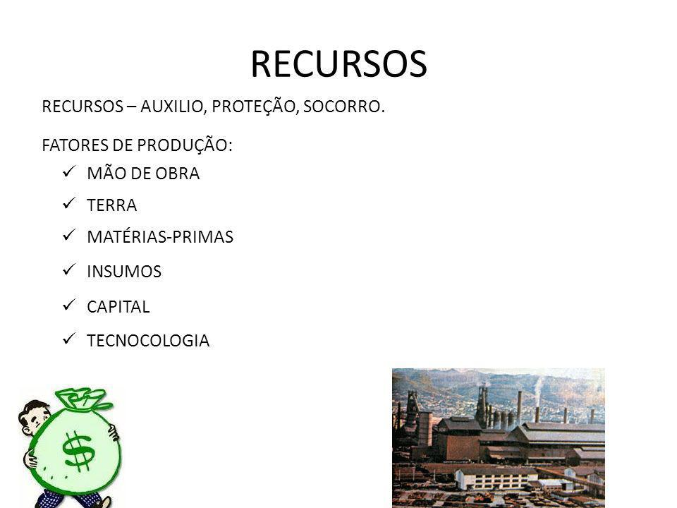 RECURSOS RECURSOS – AUXILIO, PROTEÇÃO, SOCORRO.