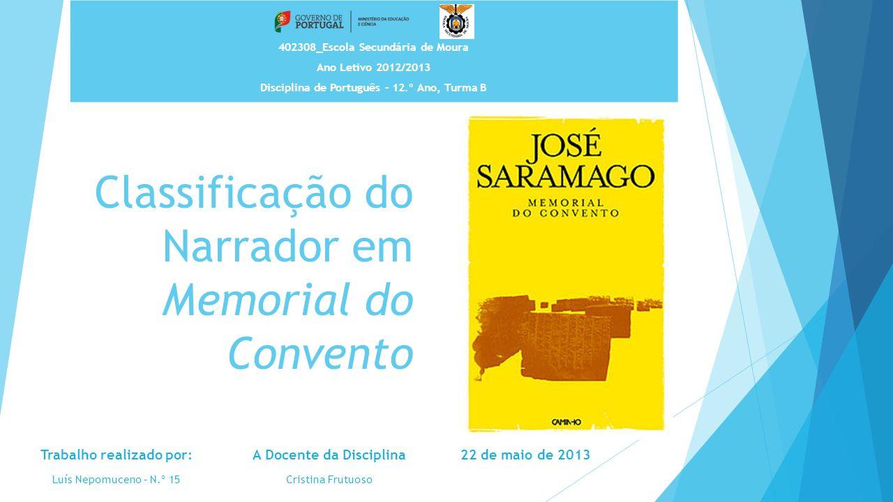 Classificação do Narrador em Memorial do Convento 402308_Escola Secundária de Moura Ano Letivo 2012/2013 Disciplina de Português – 12.º Ano, Turma B A