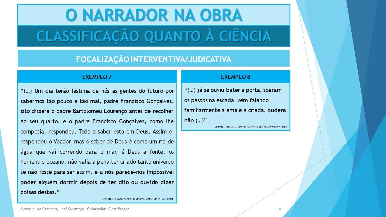 O NARRADOR NA OBRA FOCALIZAÇÃO INTERVENTIVA/JUDICATIVA Memorial do Convento, José Saramago - O Narrador: Classificação16 CLASSIFICAÇÃO QUANTO À CIÊNCI