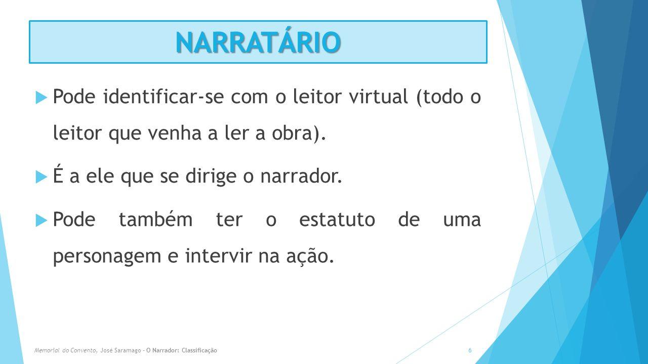 NARRATÁRIO Pode identificar-se com o leitor virtual (todo o leitor que venha a ler a obra). É a ele que se dirige o narrador. Pode também ter o estatu