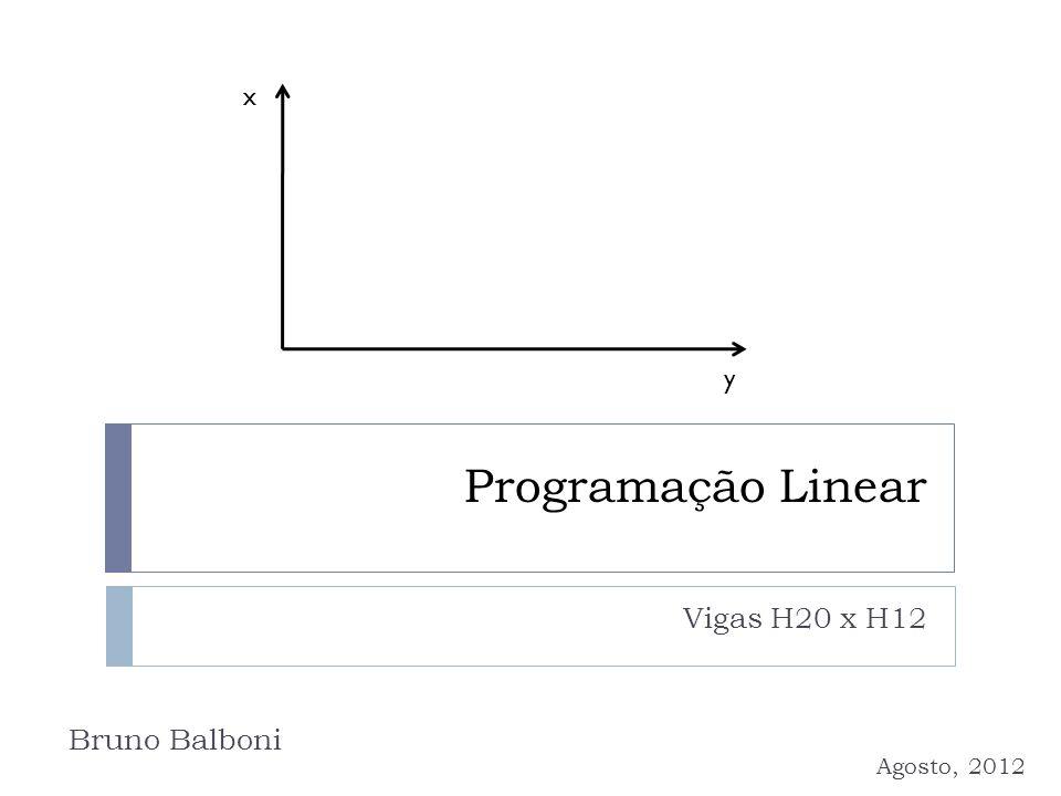 Programação Linear Vigas H20 x H12 Bruno Balboni Agosto, 2012 x y