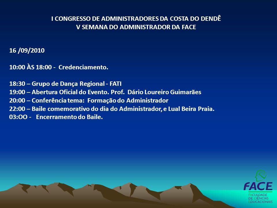 16 /09/2010 10:00 ÀS 18:00 - Credenciamento. 18:30 – Grupo de Dança Regional - FATI 19:00 – Abertura Oficial do Evento. Prof. Dário Loureiro Guimarães