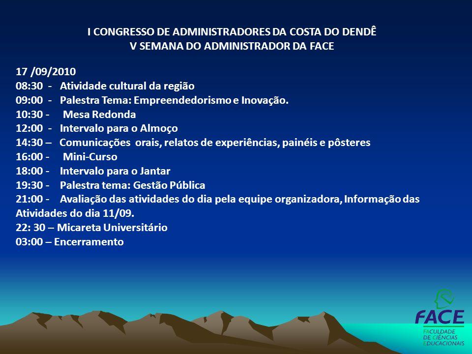 17 /09/2010 08:30 - Atividade cultural da região 09:00 - Palestra Tema: Empreendedorismo e Inovação. 10:30 - Mesa Redonda 12:00 - Intervalo para o Alm