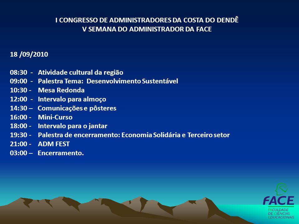 18 /09/2010 08:30 - Atividade cultural da região 09:00 - Palestra Tema: Desenvolvimento Sustentável 10:30 - Mesa Redonda 12:00 - Intervalo para almoço