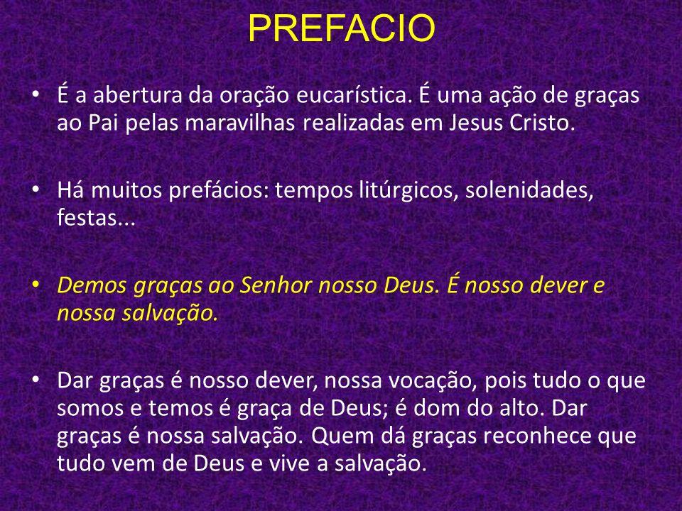 PREFACIO É a abertura da oração eucarística. É uma ação de graças ao Pai pelas maravilhas realizadas em Jesus Cristo. Há muitos prefácios: tempos litú