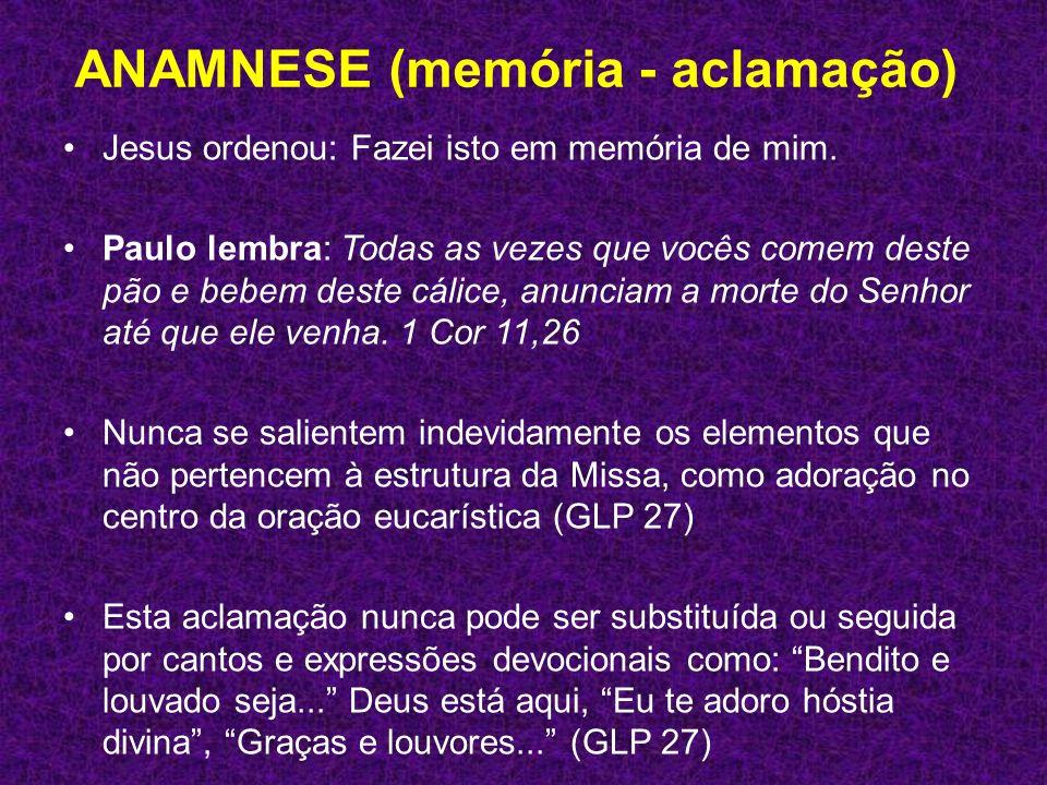 ANAMNESE (memória - aclamação) Jesus ordenou: Fazei isto em memória de mim. Paulo lembra: Todas as vezes que vocês comem deste pão e bebem deste cálic