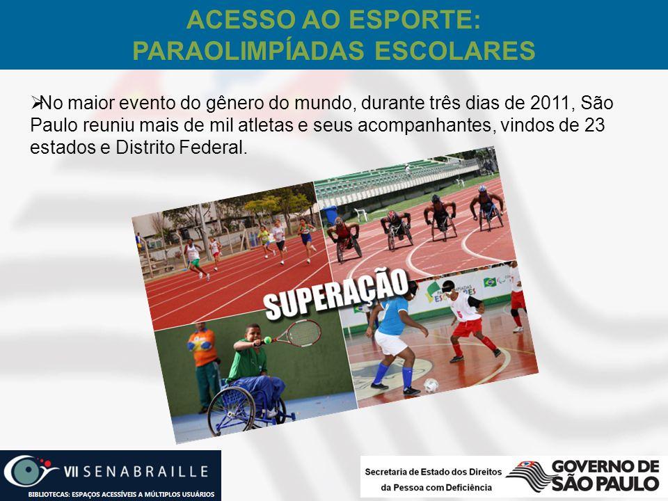 No maior evento do gênero do mundo, durante três dias de 2011, São Paulo reuniu mais de mil atletas e seus acompanhantes, vindos de 23 estados e Distr