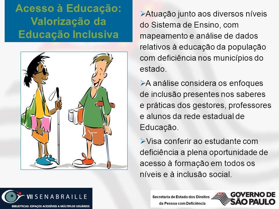 Atuação junto aos diversos níveis do Sistema de Ensino, com mapeamento e análise de dados relativos à educação da população com deficiência nos municí