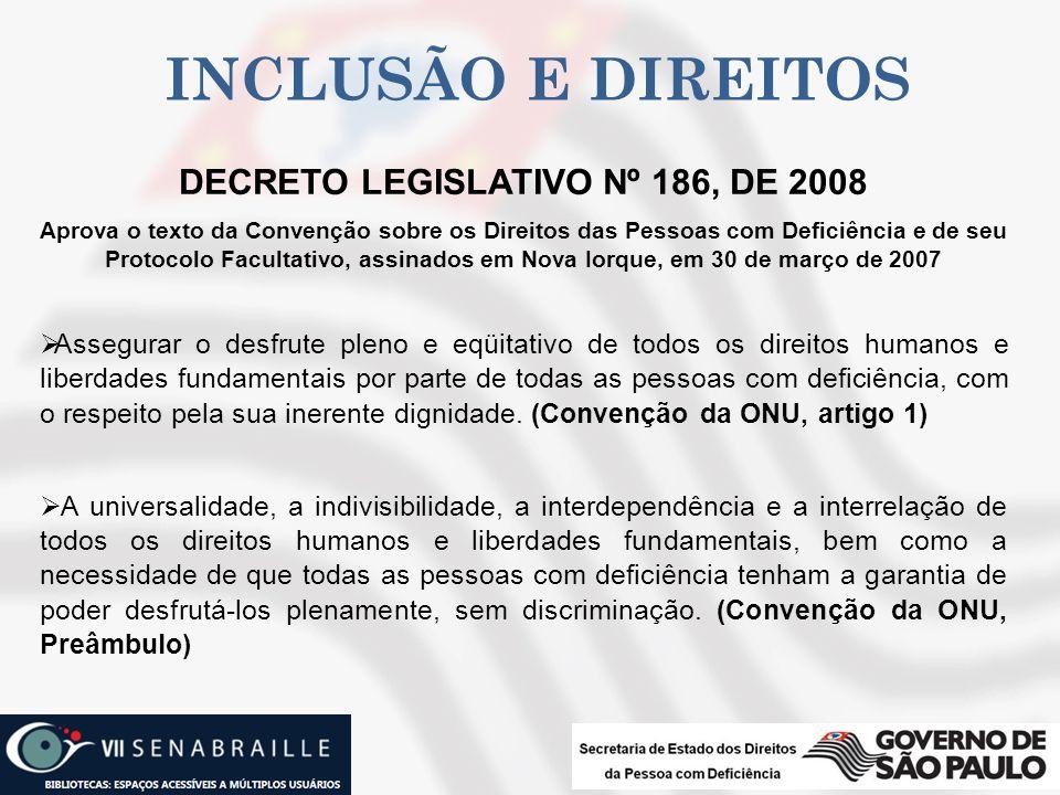 INCLUSÃO E DIREITOS DECRETO LEGISLATIVO Nº 186, DE 2008 Aprova o texto da Convenção sobre os Direitos das Pessoas com Deficiência e de seu Protocolo F
