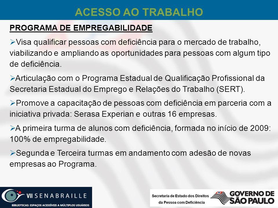 ACESSO AO TRABALHO PROGRAMA DE EMPREGABILIDADE Visa qualificar pessoas com deficiência para o mercado de trabalho, viabilizando e ampliando as oportun