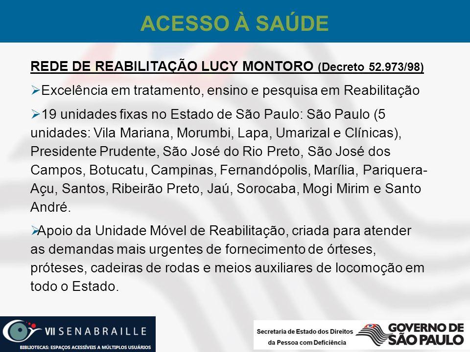 REDE DE REABILITAÇÃO LUCY MONTORO (Decreto 52.973/98) Excelência em tratamento, ensino e pesquisa em Reabilitação 19 unidades fixas no Estado de São P