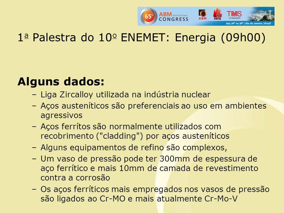 1 a Palestra do 10 o ENEMET: Energia (09h00) Alguns dados: –Liga Zircalloy utilizada na indústria nuclear –Aços austeníticos são preferenciais ao uso