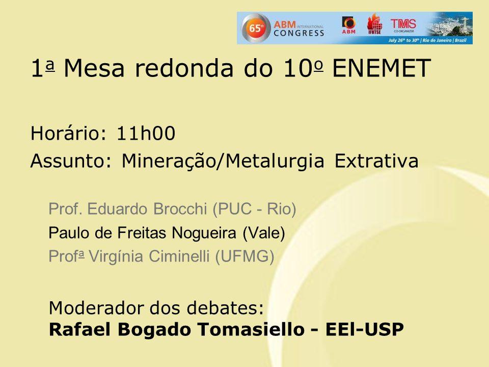 1 a Mesa redonda do 10 o ENEMET Horário: 11h00 Assunto: Mineração/Metalurgia Extrativa Prof. Eduardo Brocchi (PUC - Rio) Paulo de Freitas Nogueira (Va