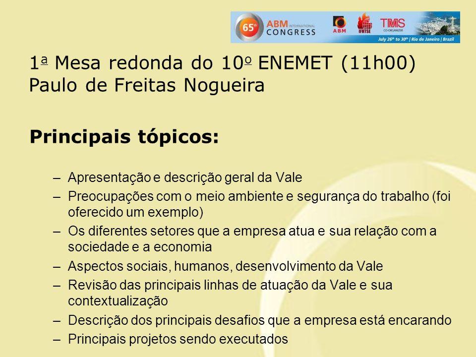 Principais tópicos: –Apresentação e descrição geral da Vale –Preocupações com o meio ambiente e segurança do trabalho (foi oferecido um exemplo) –Os d