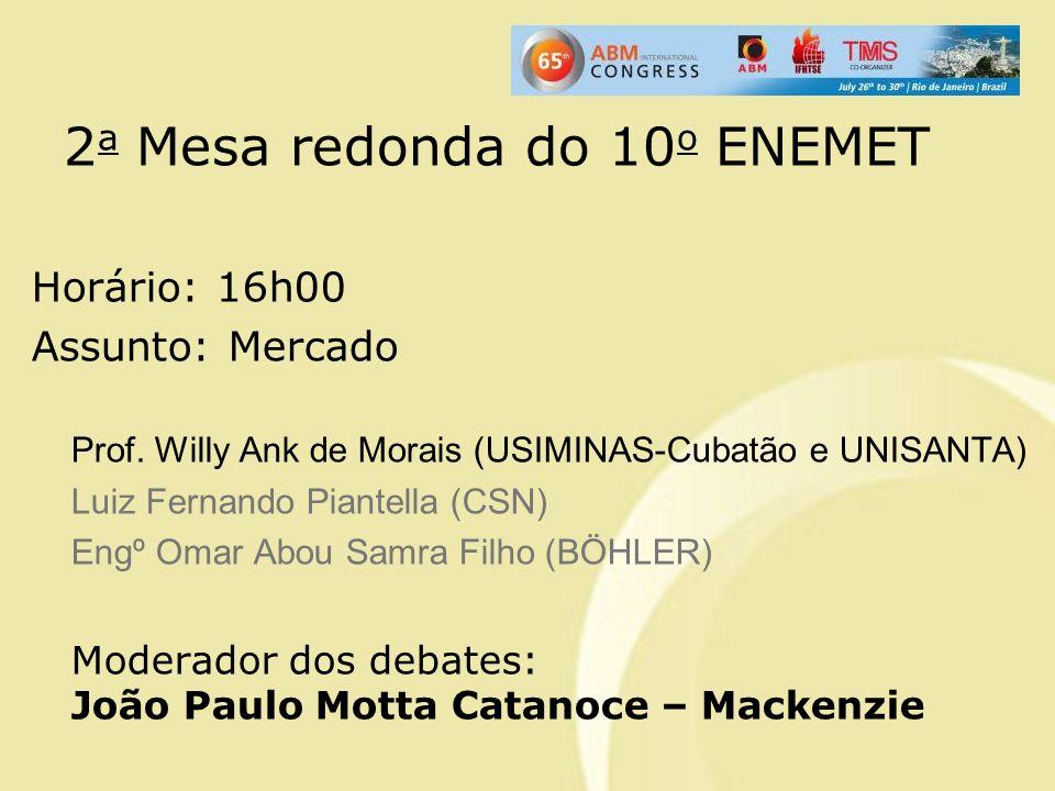 2 a Mesa redonda do 10 o ENEMET Horário: 16h00 Assunto: Mercado Prof. Willy Ank de Morais (USIMINAS-Cubatão e UNISANTA) Luiz Fernando Piantella (CSN)