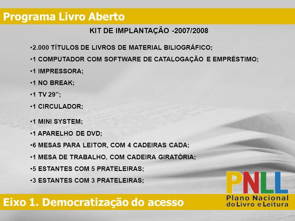 Eixo 1. Democratização do acesso Programa Livro Aberto KIT DE IMPLANTAÇÃO -2007/2008 2.000 TÍTULOS DE LIVROS DE MATERIAL BILIOGRÁFICO; 1 COMPUTADOR CO