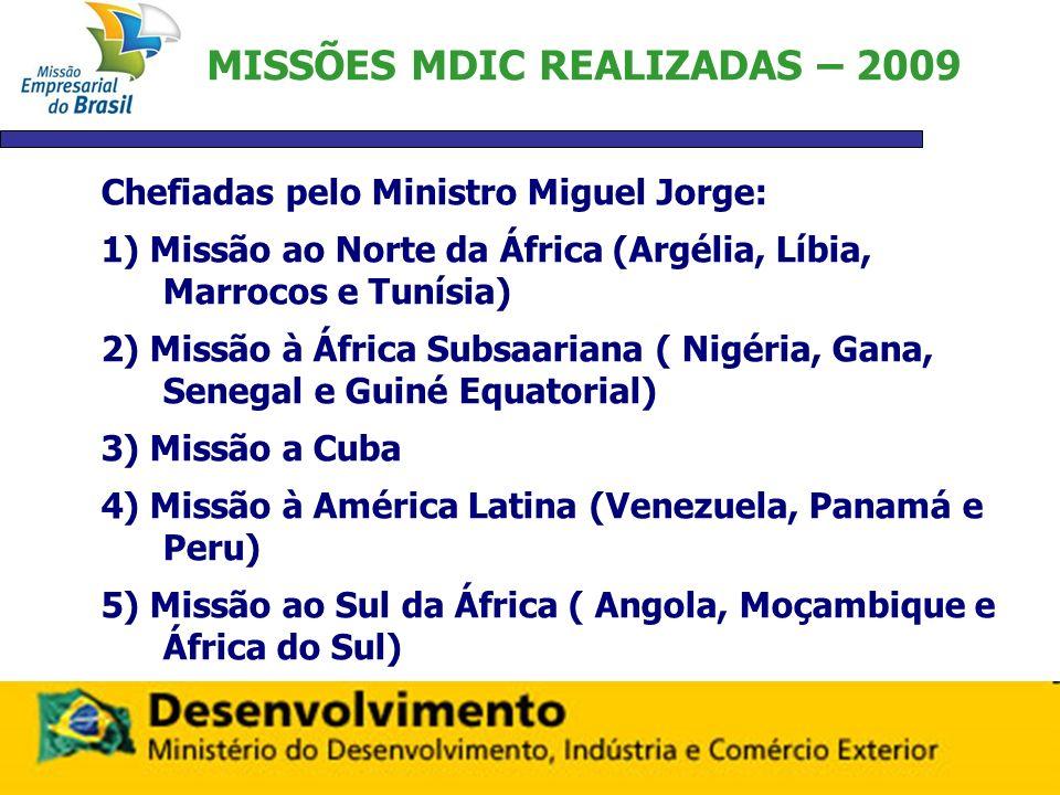 MISSÕES MDIC REALIZADAS – 2009 Chefiadas pelo Ministro Miguel Jorge: 1) Missão ao Norte da África (Argélia, Líbia, Marrocos e Tunísia) 2) Missão à Áfr