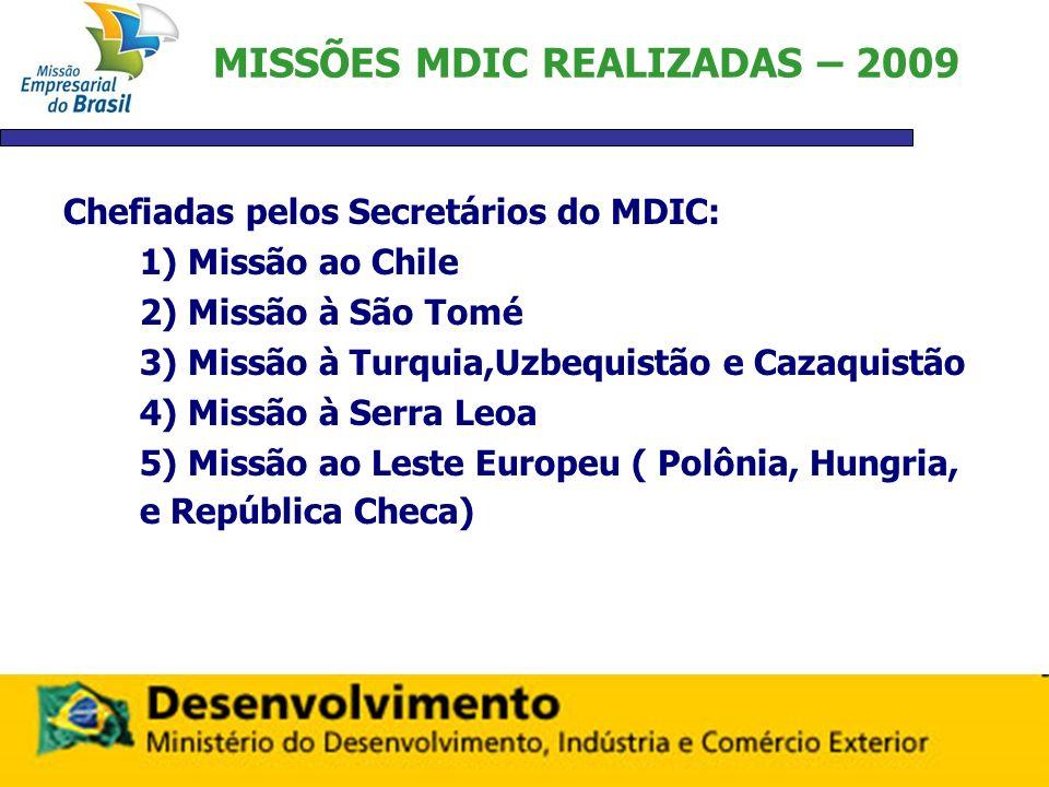 MISSÕES MDIC REALIZADAS – 2009 Chefiadas pelos Secretários do MDIC: 1) Missão ao Chile 2) Missão à São Tomé 3) Missão à Turquia,Uzbequistão e Cazaquis