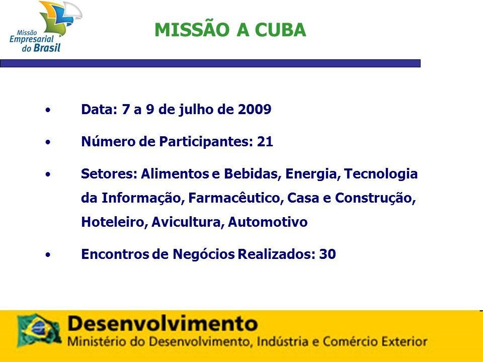 MISSÃO A CUBA Data: 7 a 9 de julho de 2009 Número de Participantes: 21 Setores: Alimentos e Bebidas, Energia, Tecnologia da Informação, Farmacêutico,