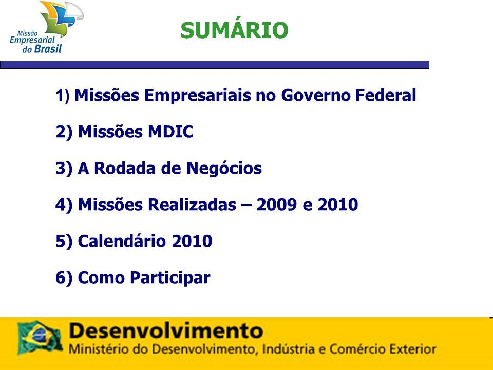 SUMÁRIO 1) Missões Empresariais no Governo Federal 2) Missões MDIC 3) A Rodada de Negócios 4) Missões Realizadas – 2009 e 2010 5) Calendário 2010 6) C
