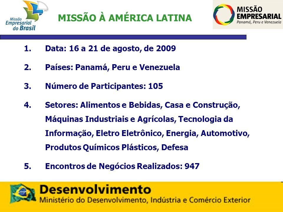 MISSÃO À AMÉRICA LATINA 1.Data: 16 a 21 de agosto, de 2009 2.Países: Panamá, Peru e Venezuela 3.Número de Participantes: 105 4.Setores: Alimentos e Be