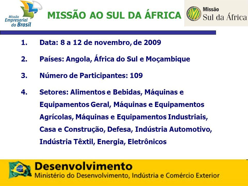 MISSÃO AO SUL DA ÁFRICA 1.Data: 8 a 12 de novembro, de 2009 2.Países: Angola, África do Sul e Moçambique 3.Número de Participantes: 109 4.Setores: Ali