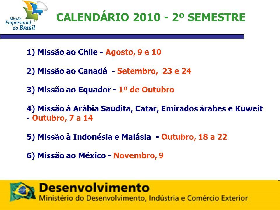 CALENDÁRIO 2010 - 2º SEMESTRE 1) Missão ao Chile - Agosto, 9 e 10 2) Missão ao Canadá - Setembro, 23 e 24 3) Missão ao Equador - 1º de Outubro 4) Miss