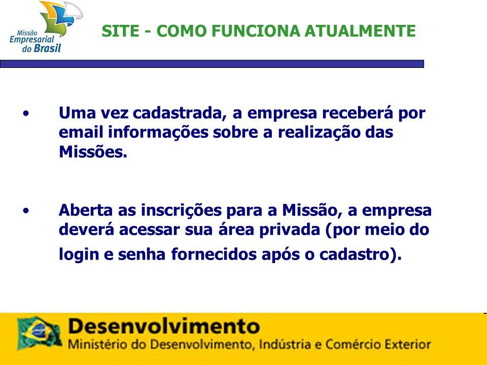 SITE - COMO FUNCIONA ATUALMENTE Uma vez cadastrada, a empresa receberá por email informações sobre a realização das Missões. Aberta as inscrições para